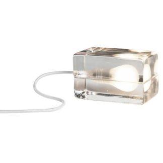 Design House Stockholm Block Lamp Bordlampe Klart Glas Hvid Ledning