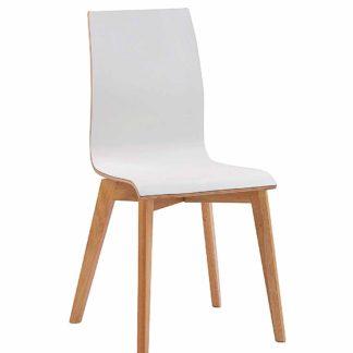 Grace spisebordsstol - hvid laminat/egetræ