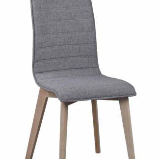 Grace spisebordsstol - lysegråt stof/hvidpigmenteret eg