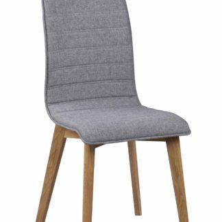 Grace spisebordsstol - lysegråt stof/lakeret eg