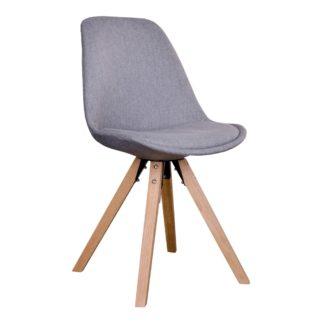 HOUSE NORDIC Bergen spisebordsstol i lysegråt stof med natur træben