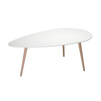 Just sofabord - hvidt/natur stel, stor, trekantet