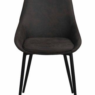 Sierra spisebordsstol - mørkegråt stof/sort metalstel