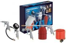 Kitsæt f/trykluft Med spiralslange,blæse-,pumpe-,male-og rensepistol