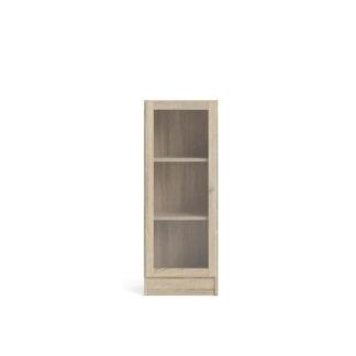 Basic reol - klar/natur glas/egetræsstruktur, m. 1 låge og 2 hylder