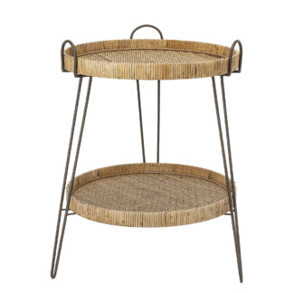CREATIVE COLLECTION sidebord - natur/sort rattan/jern, rund (Ø57)