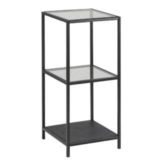 Seaford reol - klar/sort glas og sort metal, m. 2 hylder