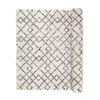 BROSTE COPENHAGEN Janson gulvtæppe - creme/sort bomuld, rektangulær (300x200)
