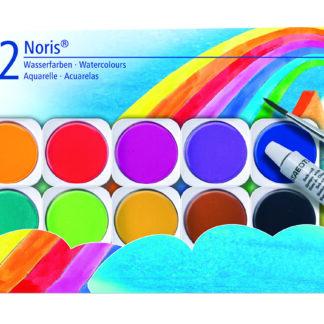 Vandfarver m/pensel 12 ass farver - STA888NC12