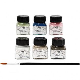 Glas og porcelænsmaling, ass. farver, chalky, 6x20ml