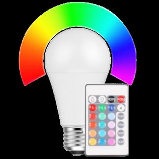 LED Pære, E27, 9W, RGB + Varm hvid med fjernbetjening