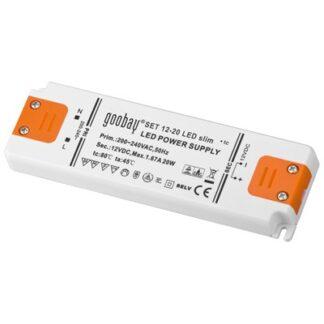 LED strømforsyning, 12VDC, 20W slim, IP20