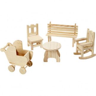 Minimøbler, H: 5,8-10,5 cm, krydsfiner, 50stk.