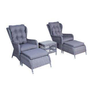VENTURE DESIGN Washington lounge havesæt m. grå hynder og glasbord - grå aluminium
