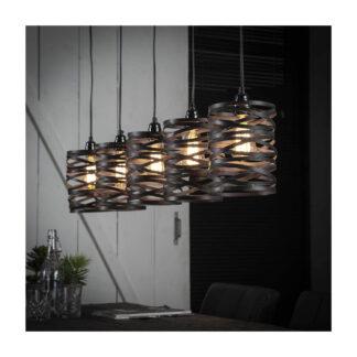FURBO loftlampe, m. 5 skærme - grå metal