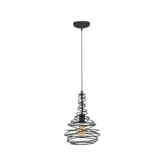 FURBO loftlampe, m. skærm med koniske vindinger - sølv stål