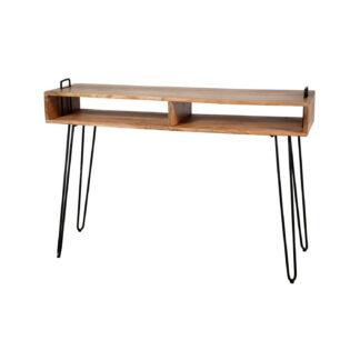 FURBO rektangulær konsolbord, m. 2 åbne rum - natur akacietræ og sort metal (115x35)