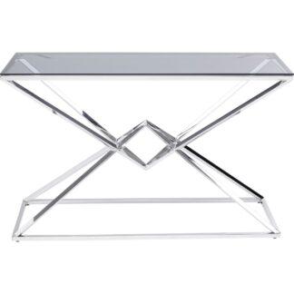 KARE DESIGN rektangulær Diamond Connection konsolbord - klar glas og sølv stål (120x40)