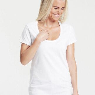 Neutral Økologisk Dame T-Shirt m. dyb udskæring (Hvid, L)