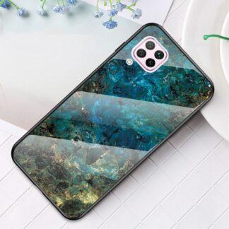 Huawei P40 Lite - Hybrid cover med bagside af hærdet glas - Marmor Design - Emerald