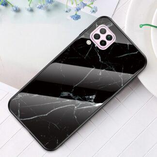 Huawei P40 Lite - Hybrid cover med bagside af hærdet glas - Marmor Design - Sort