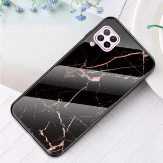 Huawei P40 Lite - Hybrid cover med bagside af hærdet glas - Marmor Design - Sort/Guld