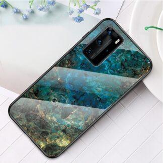 Huawei P40 Pro - Hybrid cover med bagside af hærdet glas - Marmor Design - Emerald