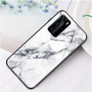 Huawei P40 Pro - Hybrid cover med bagside af hærdet glas - Marmor Design - Hvid
