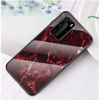 Huawei P40 Pro - Hybrid cover med bagside af hærdet glas - Marmor Design - Rød