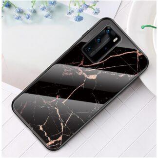 Huawei P40 Pro - Hybrid cover med bagside af hærdet glas - Marmor Design - Sort/guld