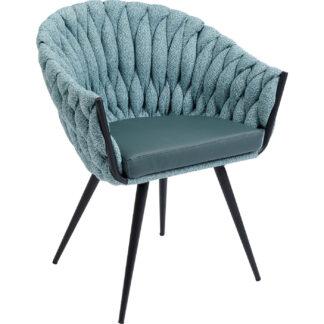 KARE DESIGN Knot spisebordsstol, m. armlæn - blågrøn stof, m. sorte ben