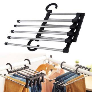 Tøjstativ/ organizer med plads til 5 par bukser til garderobeskab - Rustfri stål / Sort
