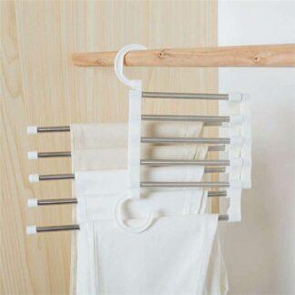 Foldelig Magic tøjstativ til Bukser til Garderobeskabe - Plads til 5 par bukser - Rustfri stål / Hvid
