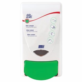 Deb Stoko Restore dispenser til regenererende creme, i hvid plast m. grøn trykknap, 1 L