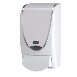 Deb Stoko White Silverline dispenser, i hvid plast m. sølvfarvet kant, 1 L