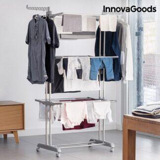 Foldebar tørrestativ i smart design - med hjul - samt tørre mulighed til skjorter