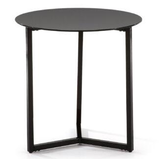 LAFORMA Marae sidebord - sort glas og stål (Ø50)