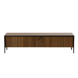 LAFORMA Nadyria TV-bord, m. 3 låger - brun valnøddefiner og sort stål (180x43)