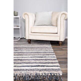 VENTURE DESIGN Agra gulvtæppe - grå og blå uld (200x300)