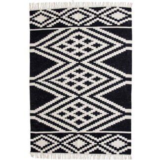 VENTURE DESIGN Indari gulvtæppe - hvid og sort uld og bomuld (200x300)