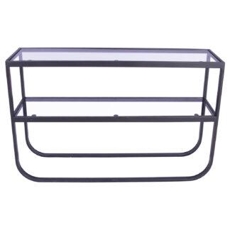 VENTURE DESIGN Rocker sidebord, m. 1 hylde - grå glas og sort metal (110x30)