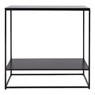 HOUSE NORDIC rektangulær Vita konsolbord, m. hylde - sort melamin og stål (80x36)
