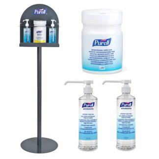 Pakke: Grå Purell håndspritstander inkl. 2 flasker hånddesinfektion og 1 bøtte servietter