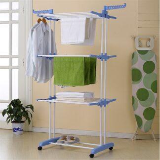 RACK - Tørrestativ / Tøjstativ - Foldeligt design - 3 niveauer med 8 alu bøjler -