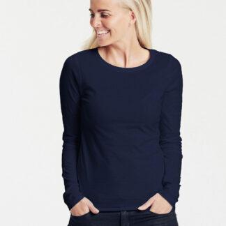 Neutral Økologisk Dame Langærmet T-Shirt (Navy, XS)