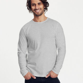Neutral Økologisk Langærmet T-shirt (Grå Meleret, 2XL)