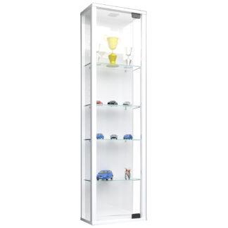 Stano Mini vægskab uden LED, m. 1 låge og 4 hylder - glas og hvid træ