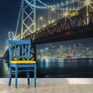 ARTGEIST Fototapet - Bay Bridge om natten (flere størrelser) 250x193