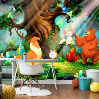 ARTGEIST Fototapet - Bear and Friends, bjørn og venner (flere størrelser) 100x70
