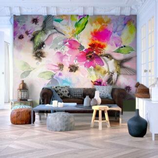 ARTGEIST Fototapet - Colours of Nature, farverig natur og kolibri (flere størrelser) 100x70